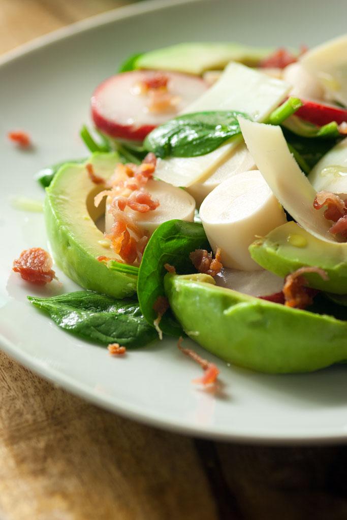 Spinach-Radish-Hearts of Palm-Avocado Salad with Lime Vinaigrette