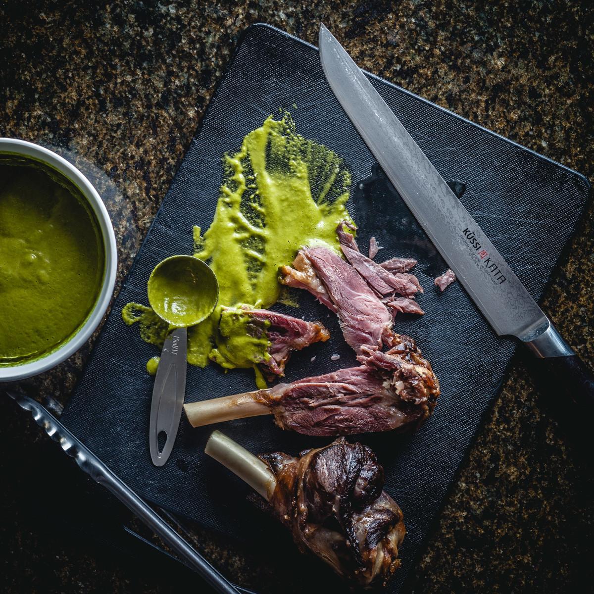 Sous Vide Lamb Shank and Sour Spinach Coulis. 12h 72h 55C @ thatothercookingblog.com