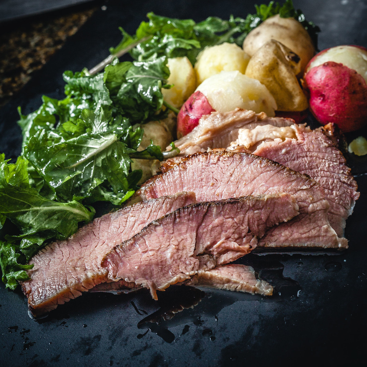 Meat and Potatoes. Sous vide brisket. Baby creamer potatoes. Baby kale Salad @ thatothercookingblog.com
