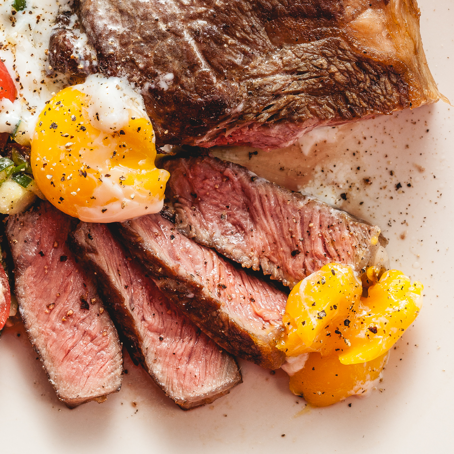 "sous vide sirloin steak and ""soft boiled"" sous vide yolks"