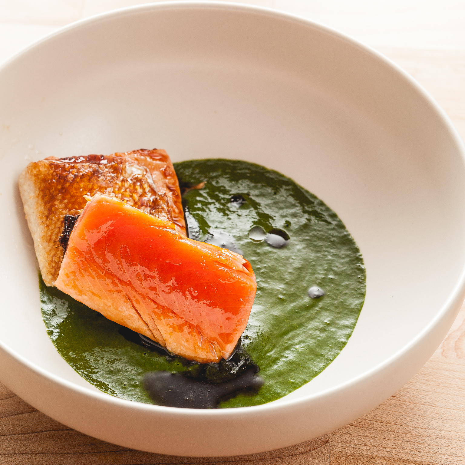 crispy skin salmon lox and spinach