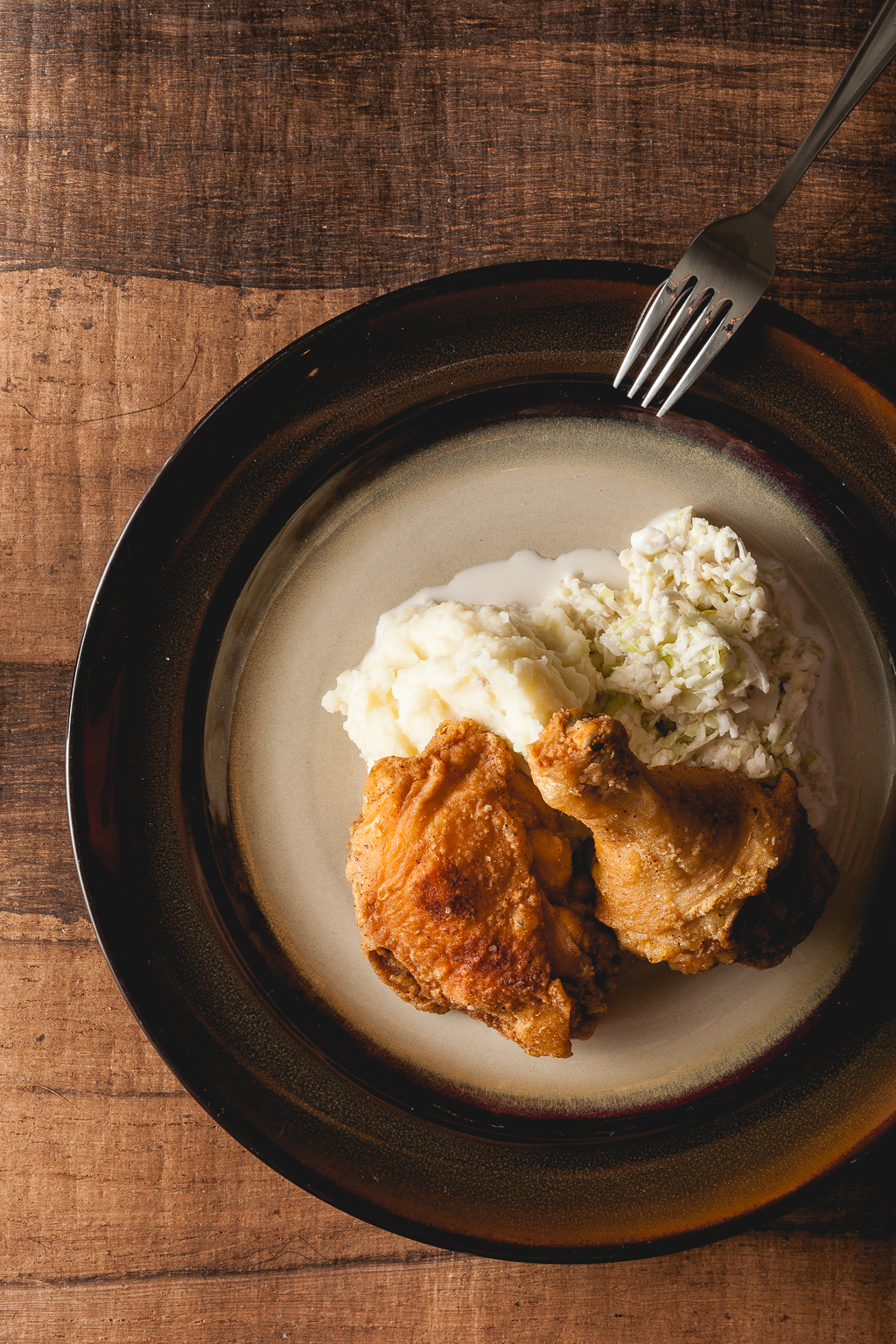 simple fried chicken, cole slaw, mashed potatoes.