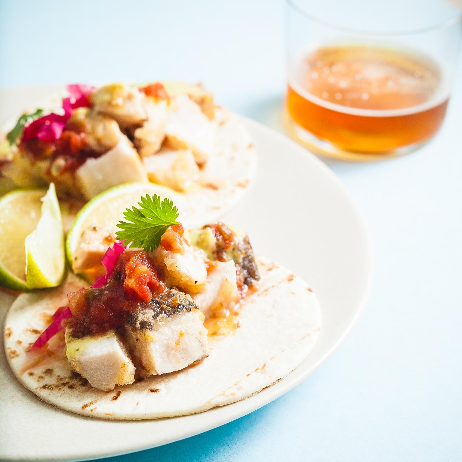 sous vide swordfish tacos. 54C 30min. @ thatothercookingblog.com