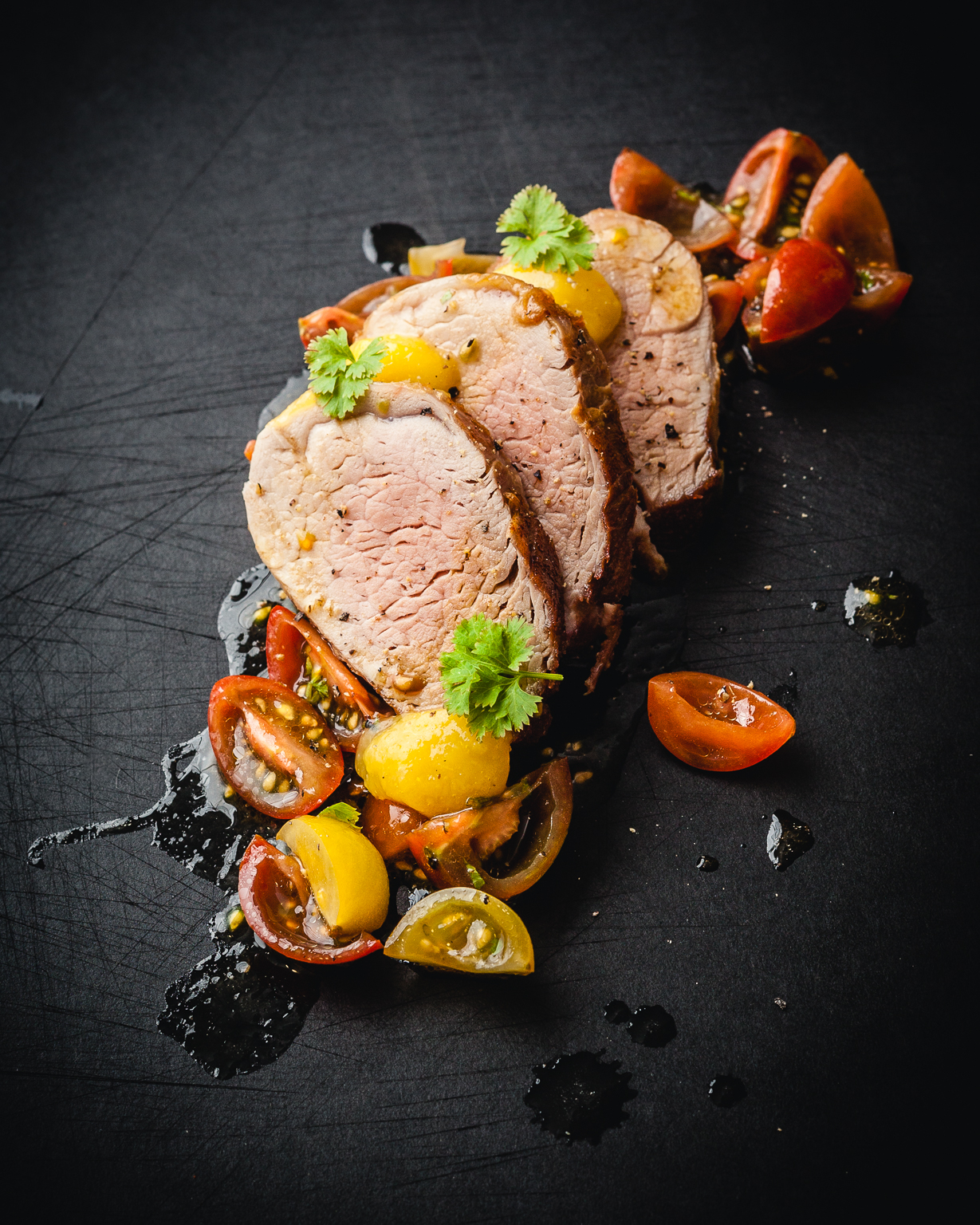 pork tenderloin sous vide 58C 3hr and mango habanero sauce