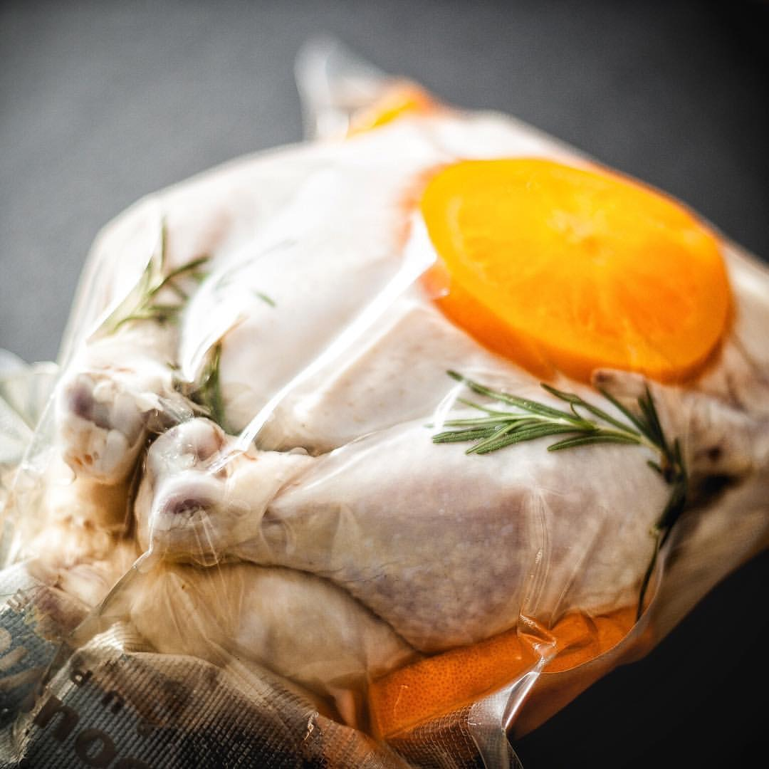 cooking chicken sous vide and pink juices