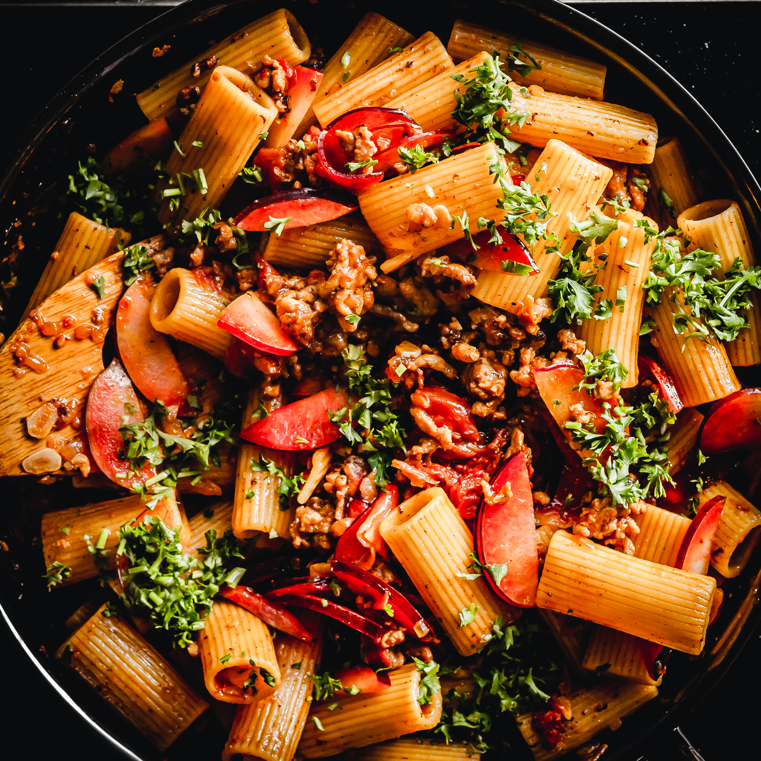 rigatoni with pork sausage and plums @ thatothercookingblog.com